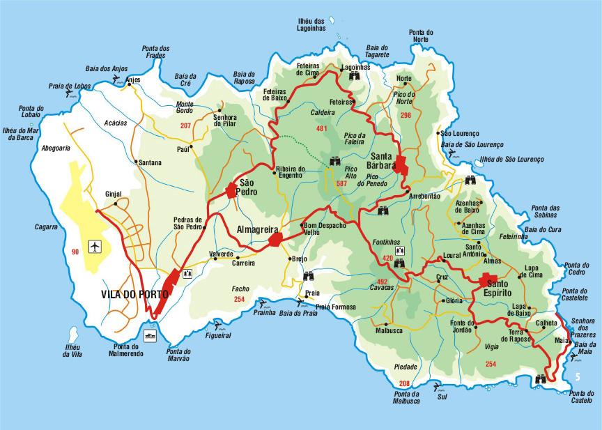 Azoren Karte.Santa Maria Azoren